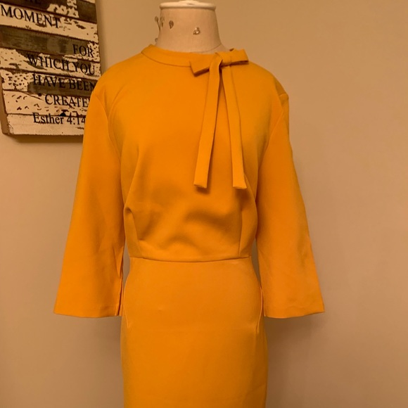 Eloquii Dresses & Skirts - Lovely golden color work dress with tie.